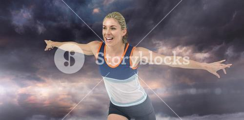 Composite image of female athlete posing after victory