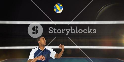 Composite image of sportsman playing a volleyball