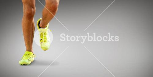 Composite image of close up of sportsman legs running on a white background