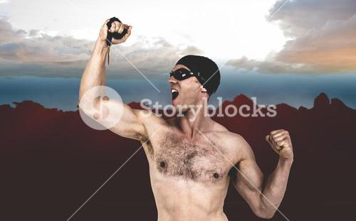 Composite image of swimmer posing with gold medal