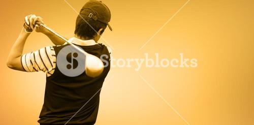 Composite image of man playing golf