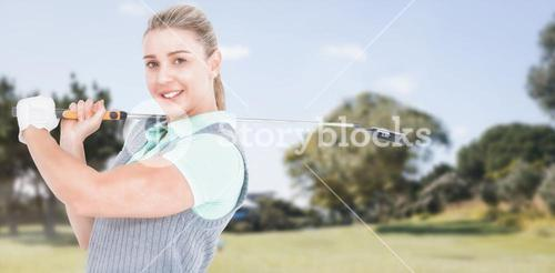 Composite image of pretty blonde posing with golf equipment
