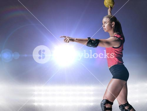 Composite image of female athlete with elbow pad throwing handball