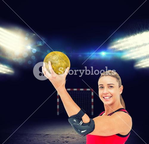 Composite image of female athlete with elbow pad holding handball