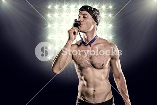 Composite image of swimmer kissing his gold medal