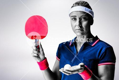 Composite image of female athlete is ready to play ping pong