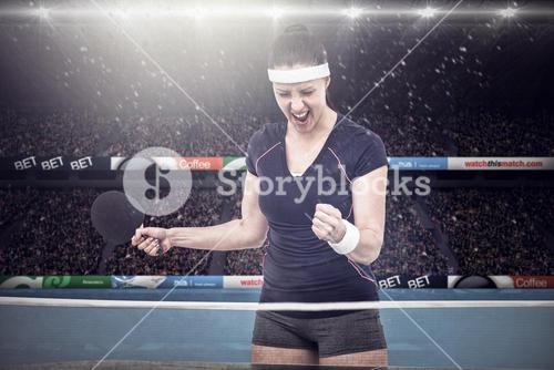 Composite image of female table tennis player posing after victory