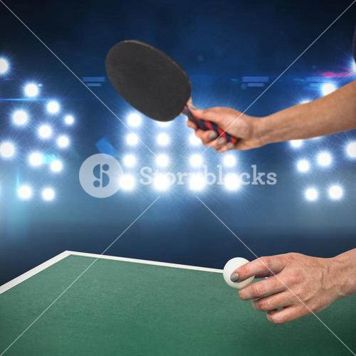 Composite image of female athlete playing table tennis