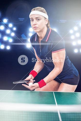 Composite image of female athlete playing ping pong
