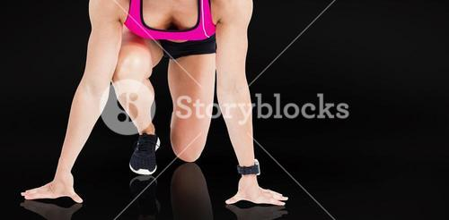 Composite image of female athlete on the start line