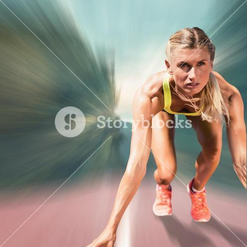 Composite image of sportswoman starting to sprint