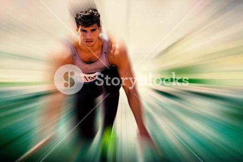 Composite image of sportsman waiting on the starting line
