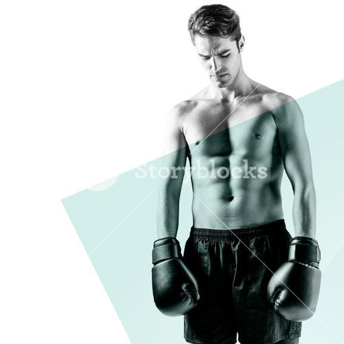 Composite image of boxer posing after failure