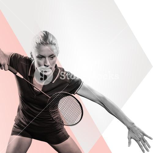 Composite image of badminton player playing badminton