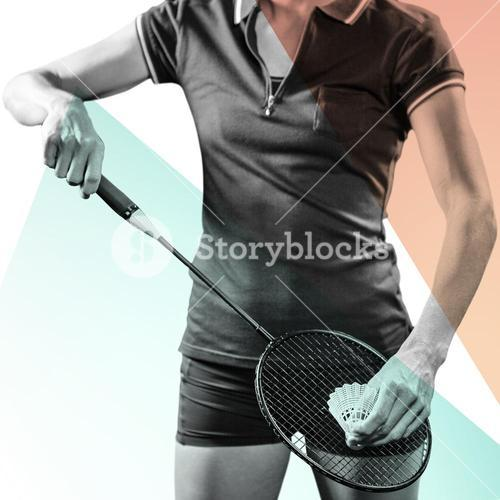 Composite image of badminton player holding a racquet ready to serve