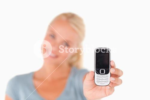 Woman showing phone