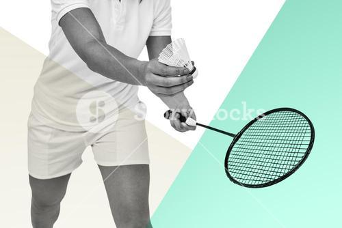 Composite image of female athlete holding a badminton racket ready to serve