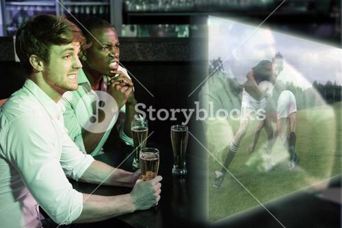 Composite image of friends are watching rugby match
