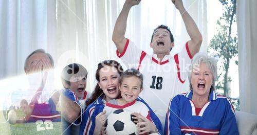 Composite image of family watching a football match in television
