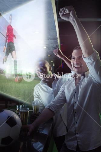 Composite image of friends are watching sport on television