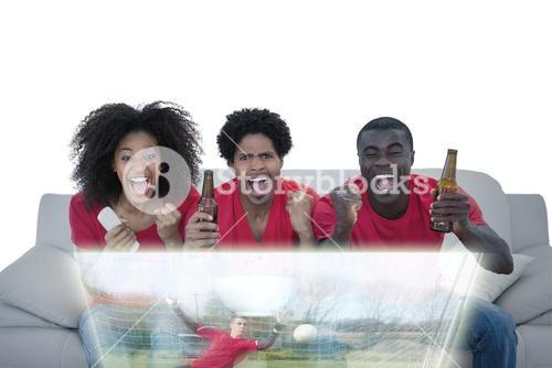 Composite image of friends are watching sport on television with beers