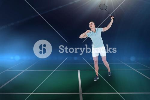 Composite image of pretty blonde playing badminton