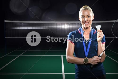 Composite image of badminton player posing with gold medal around his neck