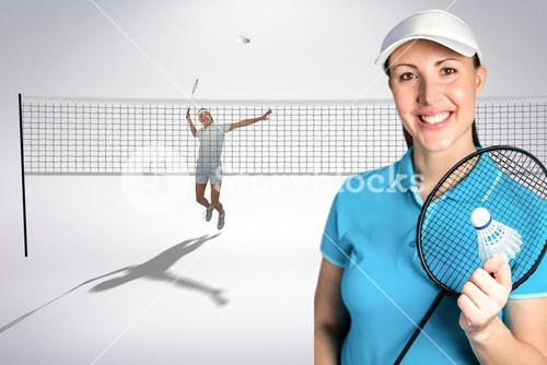 Composite image of badminton players playing and posing