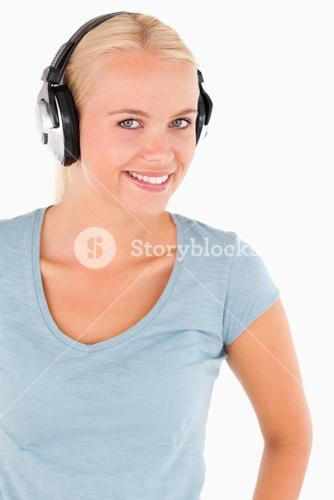 Portrait of a smiling woman with headphones
