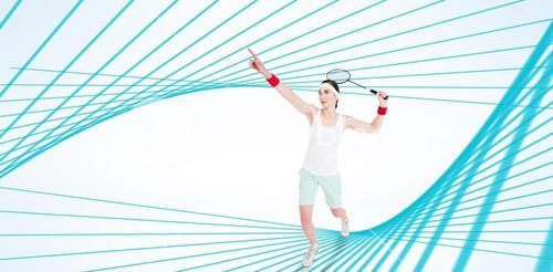 Composite image of sportswoman is playing badminton