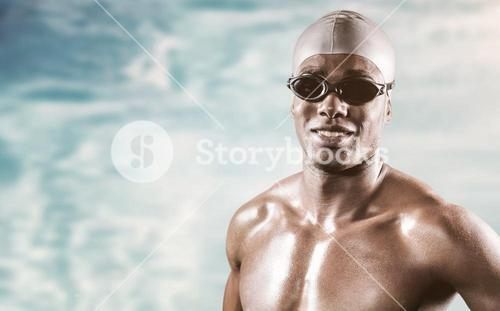 Composite image of swimmer standing with hand on hip