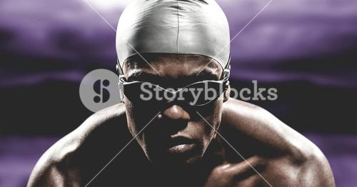 Composite image of swimmer ready to dive