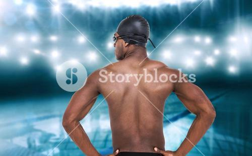 Composite image of rear view of swimmer on white background