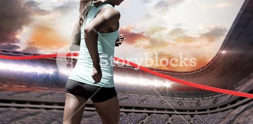 Composite image of rear view of sportswoman running on a white background