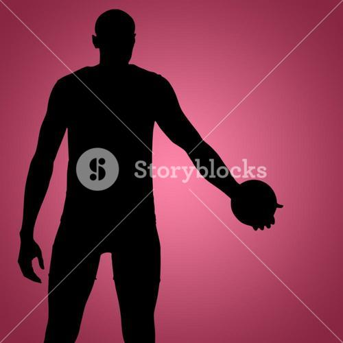 Composite image of rear view of sportsman holding a discus on a white background