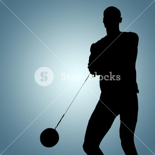 Composite image of sporty man playing at hammer throw