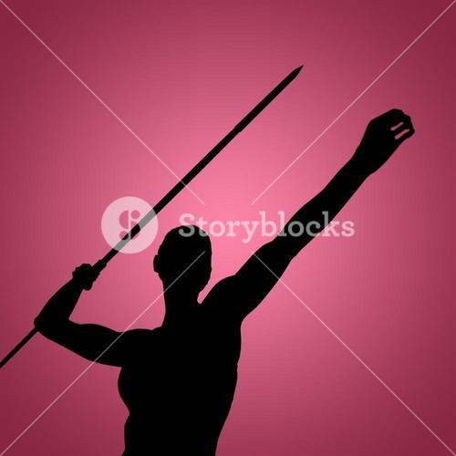 Composite image of low angle view of sportswoman is practising javelin throw