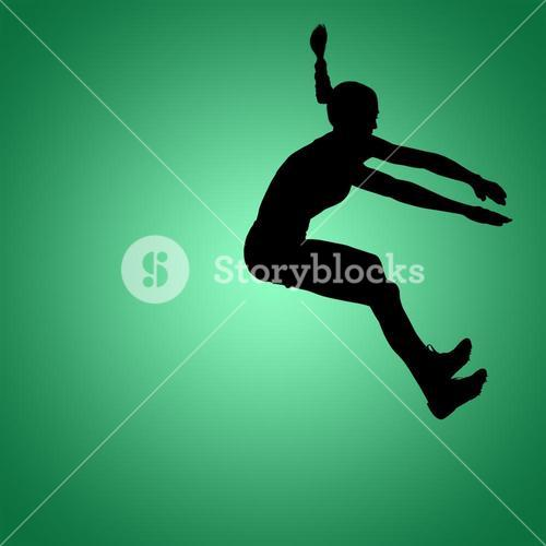 Composite image of sportswoman jumping on a white background