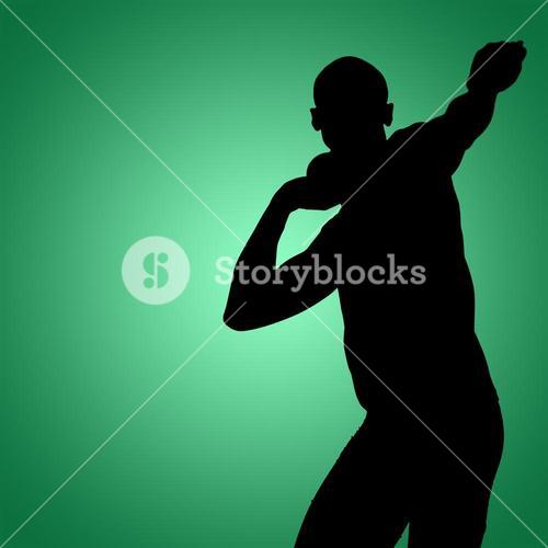 Composite image of front view of sportsman practising shot put