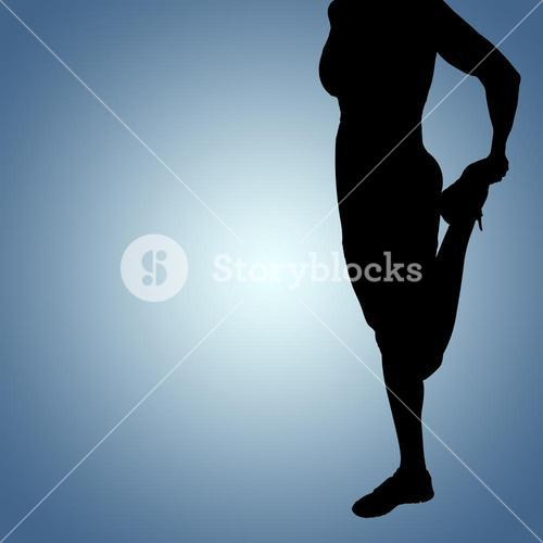 Composite image of sporty woman stretching her leg