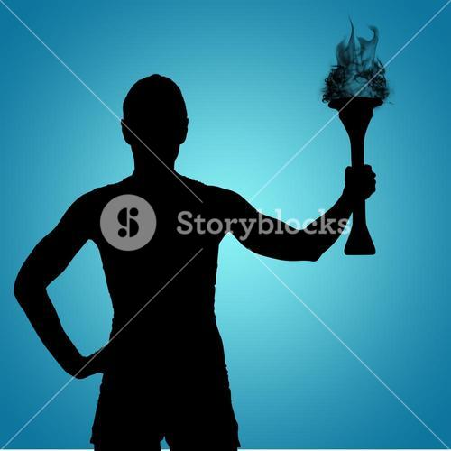 Composite image of rear view of sporty woman holding olympic torch
