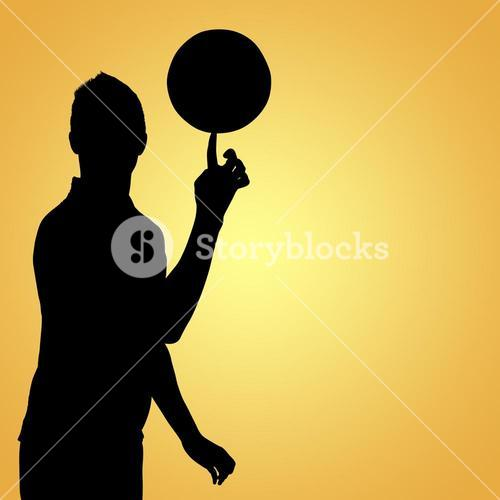 Composite image of sportsman holding a football