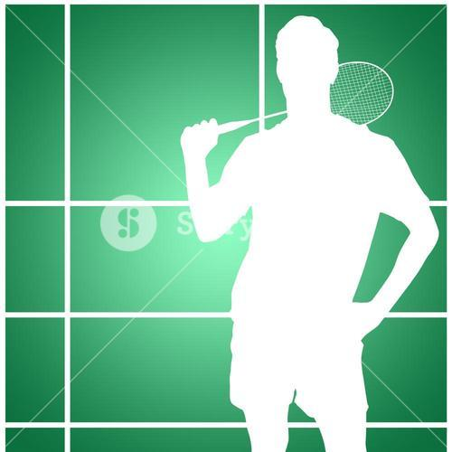 Composite image of portrait of badminton player standing with hand on hip
