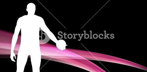 Composite image of rear view of sportsman holding a discus on on black and pink background