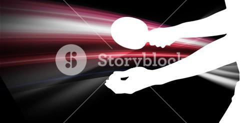 Composite image of male athlete playing table tennis