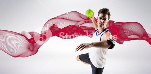 Composite image of portrait of athlete man throwing a ball