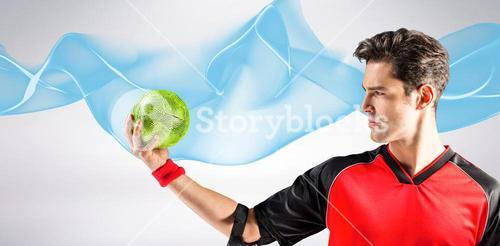 Composite image of confident athlete man holding a ball
