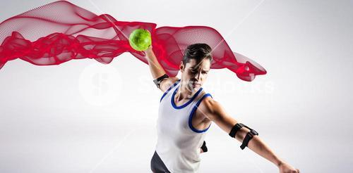 Composite image of confident athlete man throwing a ball