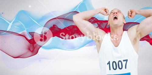 Composite image of young athlete winning race