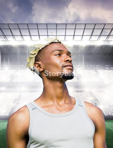 Composite image of portrait of victorious sportsman